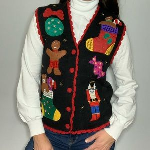 Ugly Christmas Sweater Vest Gingerbread Stocking